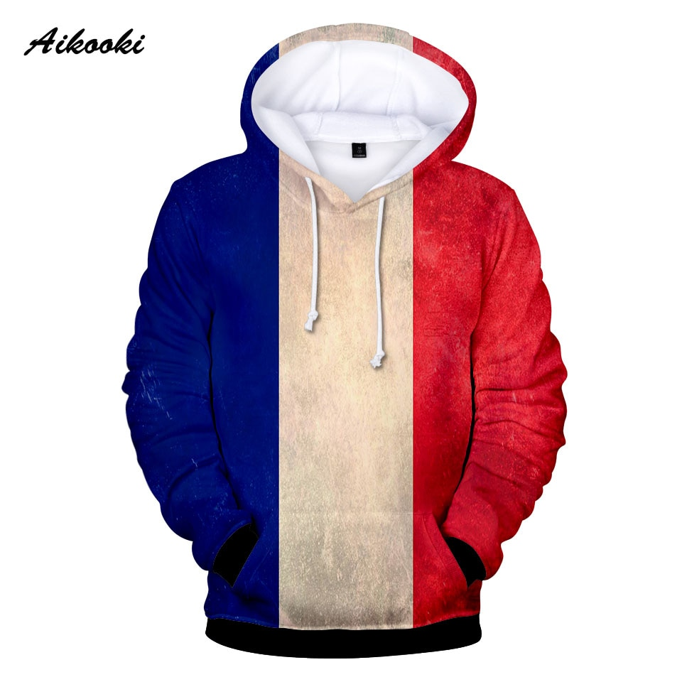 3D Full Print France National Flag Hoodies Sweatshirt Men Women Hooded 3D Print French Flag Autumn Winter Thin Hoody Polluvers