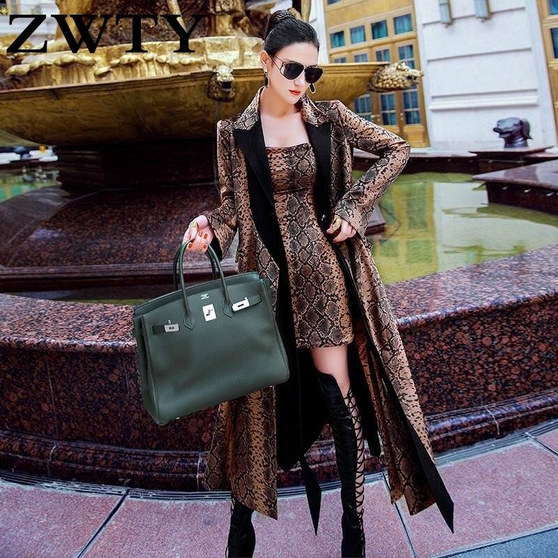 Женская свободная ветровка ZWTY с принтом в виде змеиной кожи, в европейском и американском стиле, новинка 2021, весеннее пальто средней длины, т...