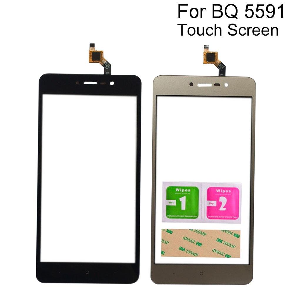 Sensor de pantalla táctil móvil para BQ BQ-5591 BQ 5591 Digitalizador de pantalla táctil Lente de Cristal frontal herramientas de Panel 3M pegamento