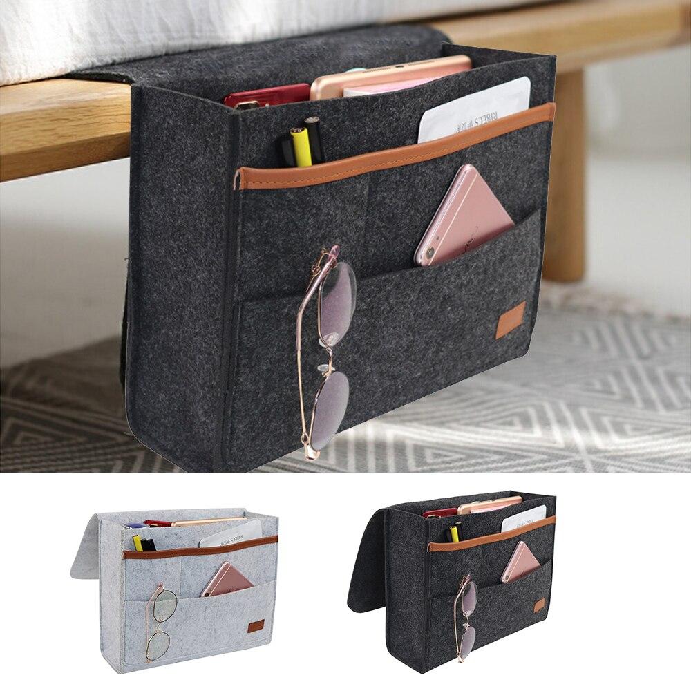 Felt Bedside Storage Bag Pouch Bed Desk Bag Sofa TV Remote Control Hanging Caddy Couch Storage Organizer Bed Holder Pockets 1pc