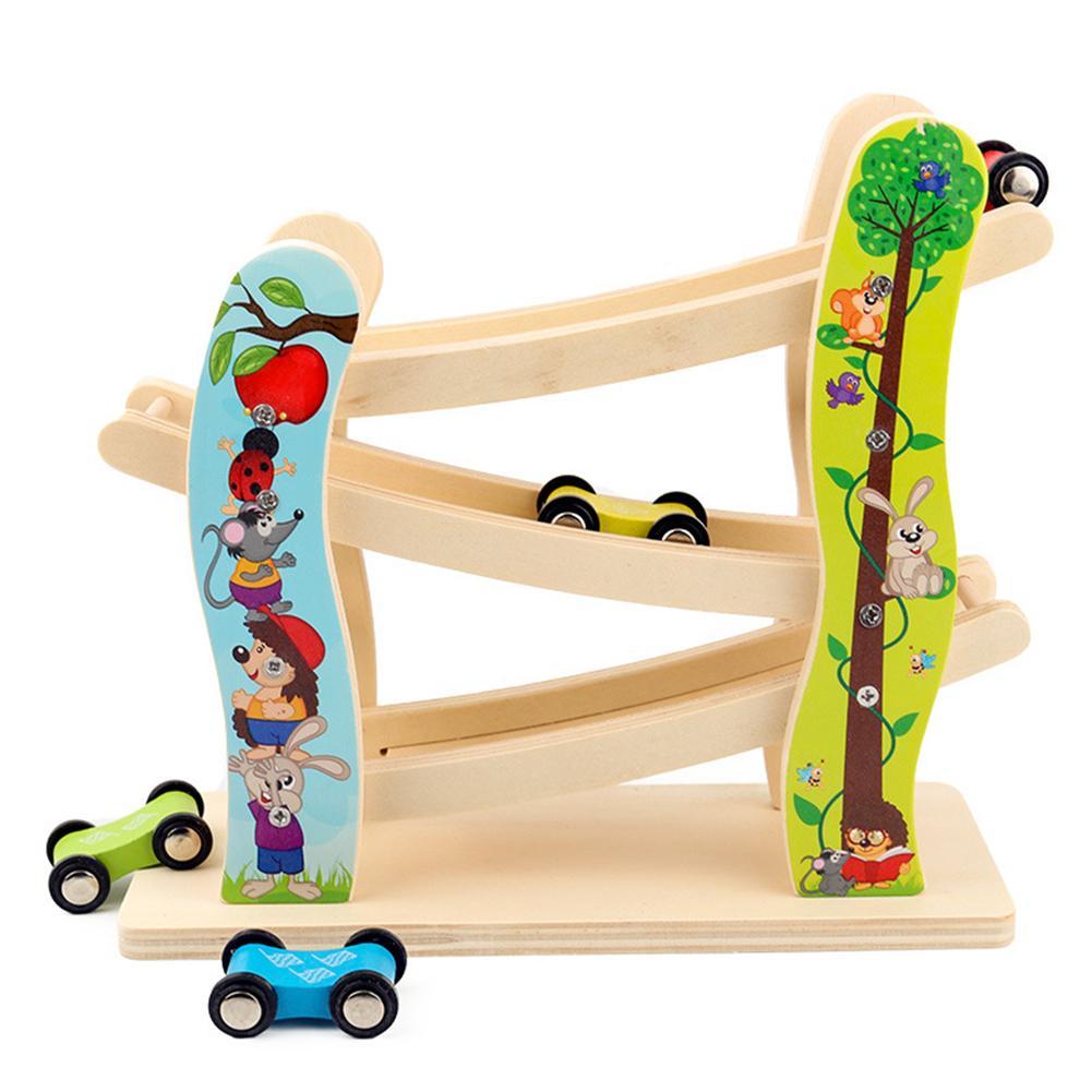 Los niños de la pista de carreras de juguete de carreras de coches de juguete de regalo con 4 coches juguetes para los niños Diecasts deslizante escalera coche niños juguete de regalo