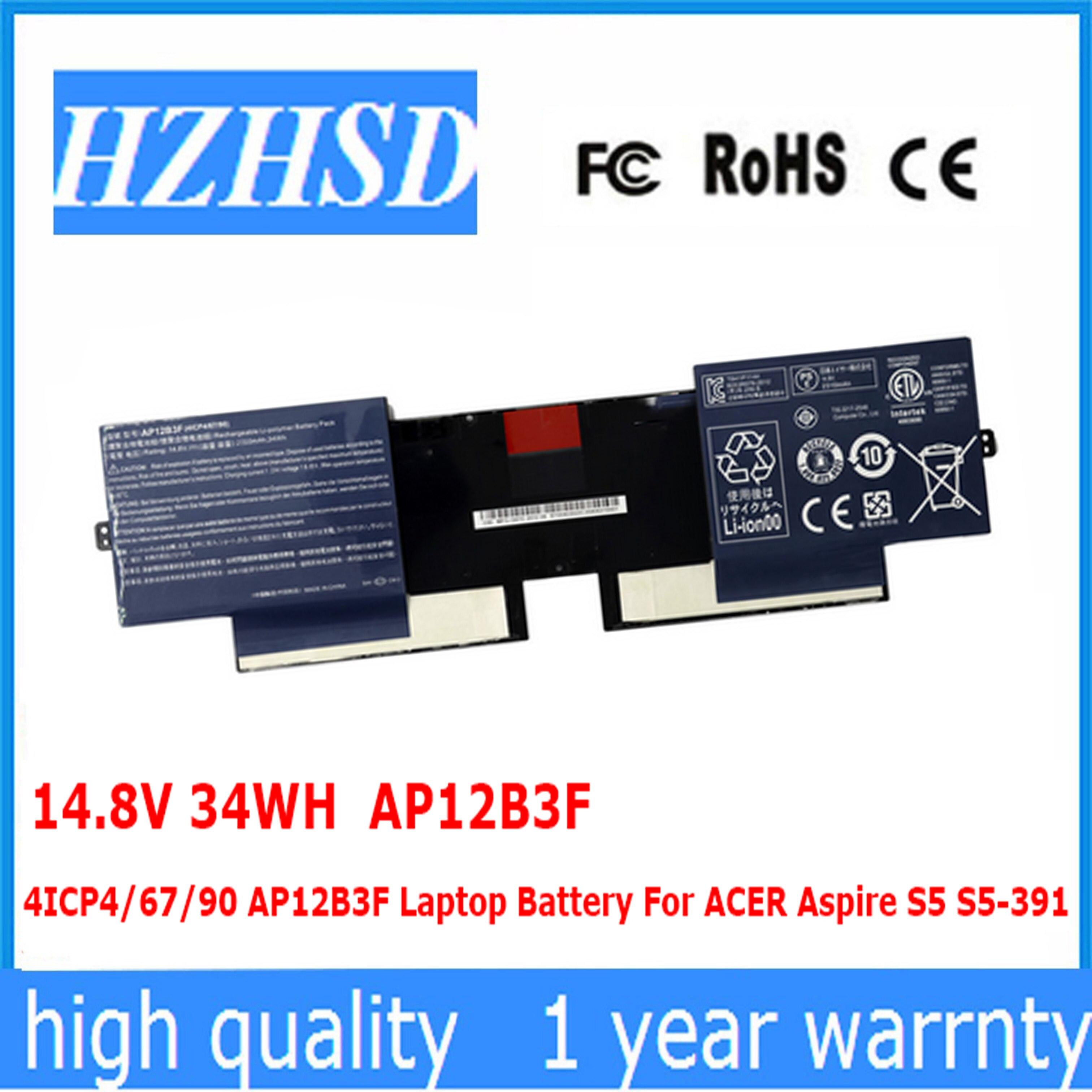 14.8V 34WH AP12B3F 4ICP4/67/90 AP12B3F لابتوب أيسر أسباير S5 S5-391