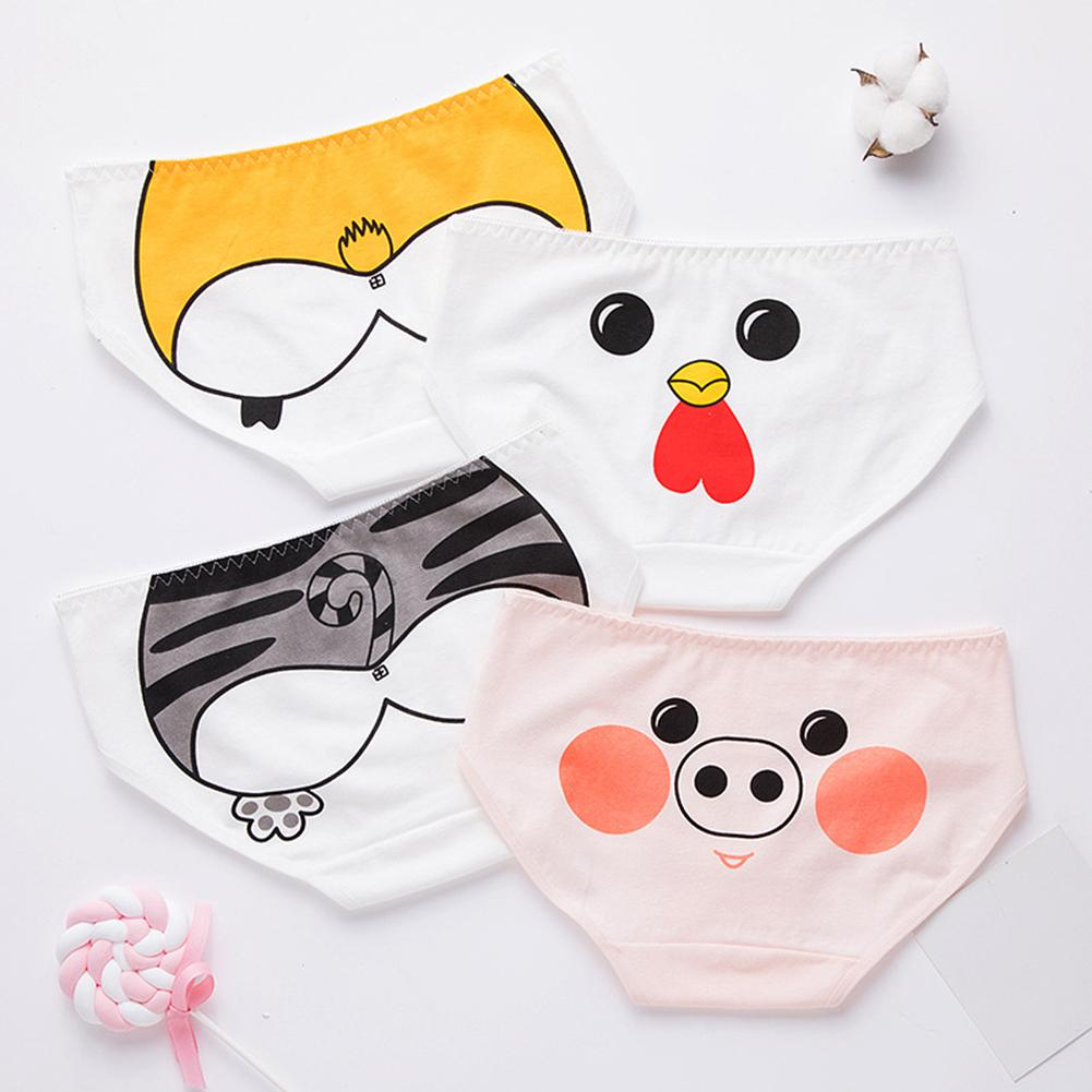 Cartoon Animal Women Stretchy Breathable Mid Rise Briefs Underpants Panties Daily inside wear suitab
