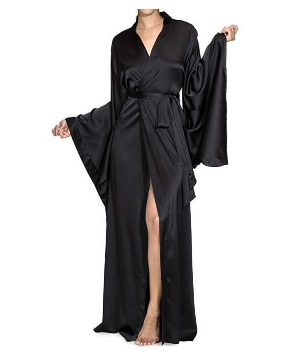 2021 New Solid Robes Women Black Red Long Sleeve Nightgown Ladies Girls Silk Satin Smooth Spring Lace Sleepwear Female Bathrobe