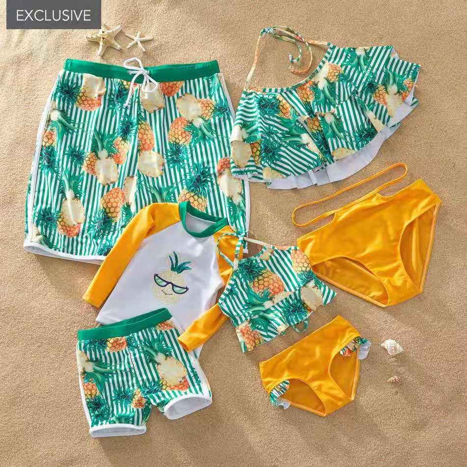 Traje de baño para padres e hijos, Bikini dividido, pantalones de playa, traje de baño con volantes, conjunto de camisa de manga larga para niño, Look familiar