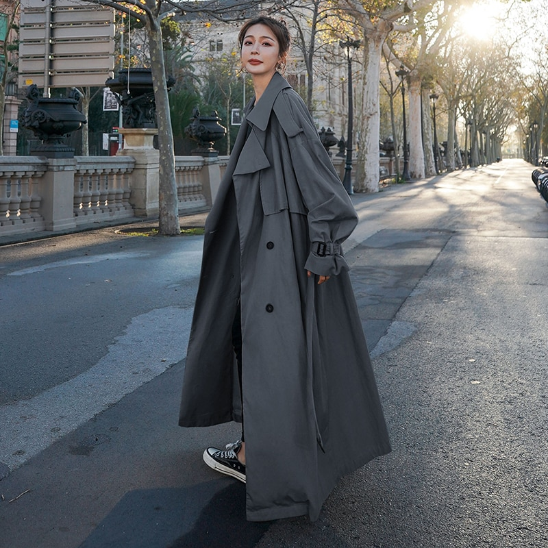 Korean Style Loose Oversized X-Long Women's Trench Coat Double-Breasted Belted Lady Cloak Windbreake