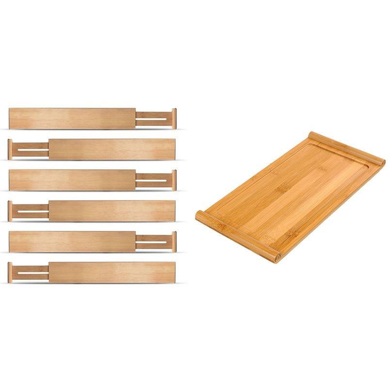 6 قطعة قابل للتعديل توسيع فواصل دولاب من خشب البامبو مقسم درج و 1 قطعة صينية الشاي الخيزران الطبيعي