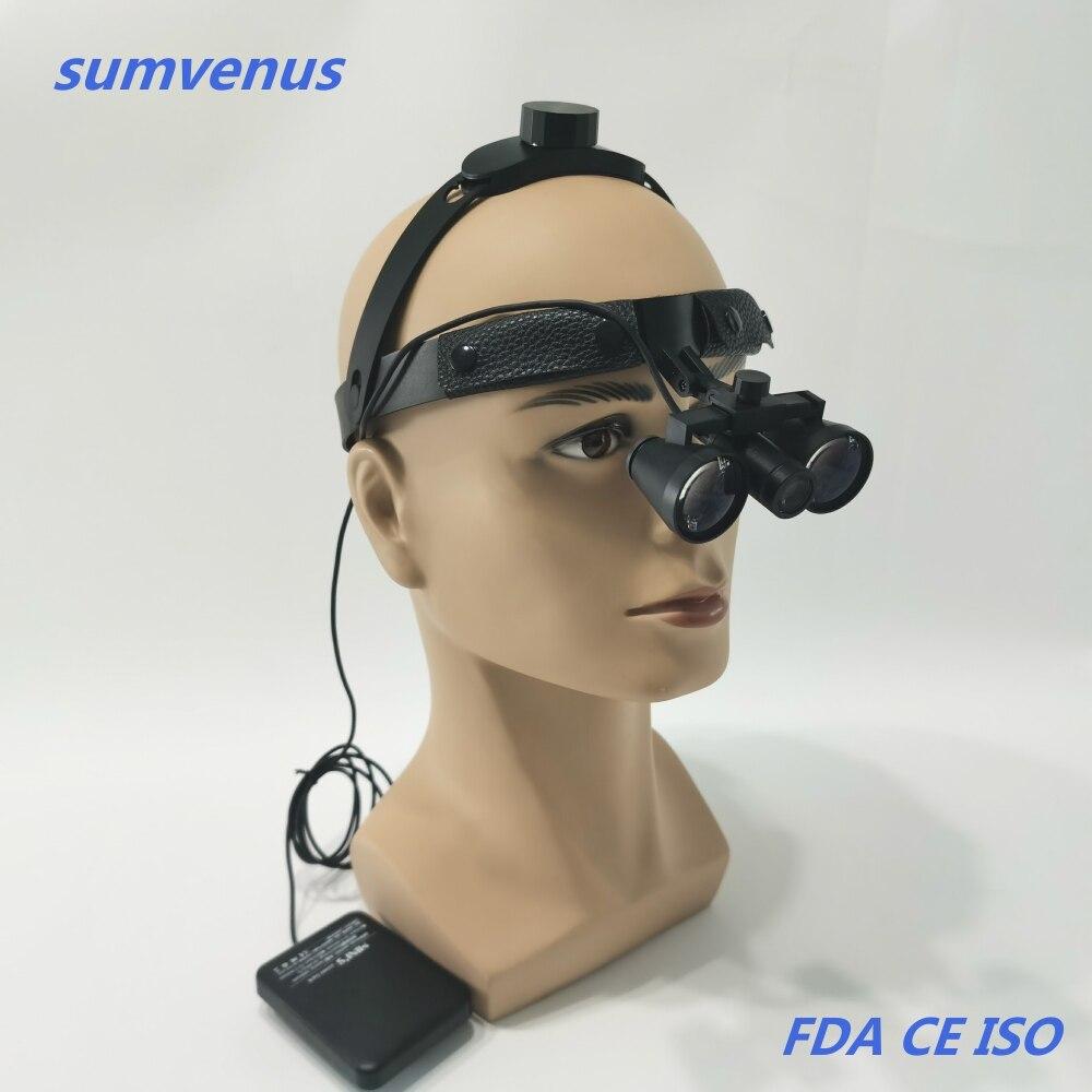 Super light Headband Dental Medical Surgical High Brightness LED Headlamp Headlight and 2.5X 3.5X Binocular Loupes Magnifier ENT