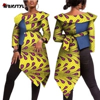2020 new african bazin riche tops tees for women plus size traditional women african print long sleeve wy5383