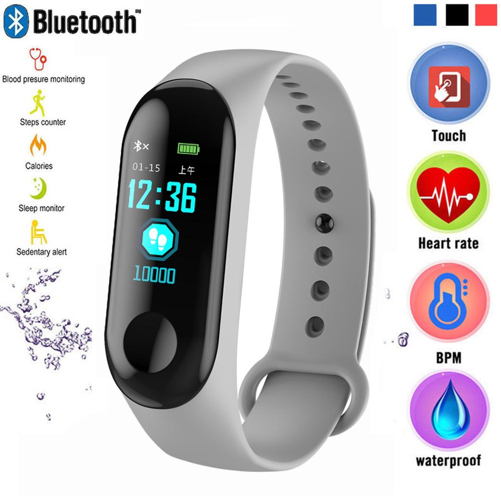 Pulsera inteligente pantalla de Color pulsera de ritmo cardíaco Running Fitness reloj Bluetooth rastreador de actividad hombres mujeres relojes inteligentes deportivos