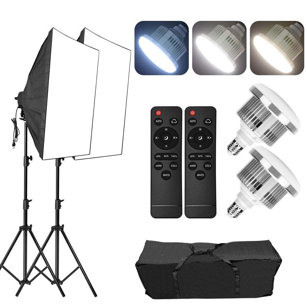 التصوير استوديو المستمر LED سوفتبوكس طقم الإضاءة عكس الضوء 3 طرق 85 واط لمبة التصوير الفوتوغرافي 2 متر حامل ثلاثي القوائم لتصوير صورة