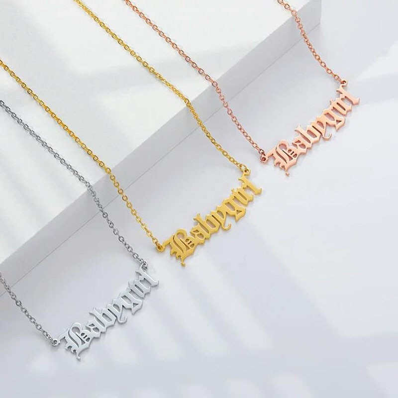 Old English Name necklace Personalized Nameplate necklace 925 sterling silver and 18k gold plated name jewelry personalized old english necklace rose gold necklace custom old english necklace customized name english nameplate necklace hand
