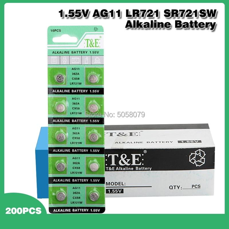 200 unids/pack 1,55 V AG11 SR721SW batería de botón SR721 162 LR721 362 celular moneda baterías alcalinas para relojes de juguete remoto