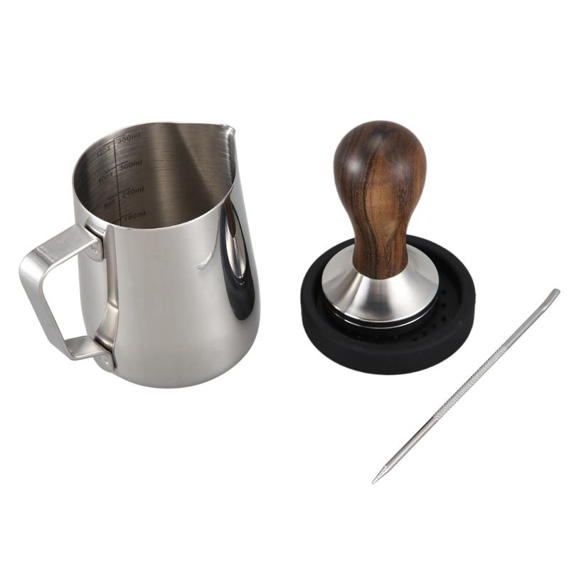 سدادة قهوة ، اسبريسو ماكينة صنع القهوة قلادة فضية من الفولاذ المقاوم للصدأ 51 مللي متر العبث مقهى لوازم مع حصيرة العبث ، إبريق الحليب