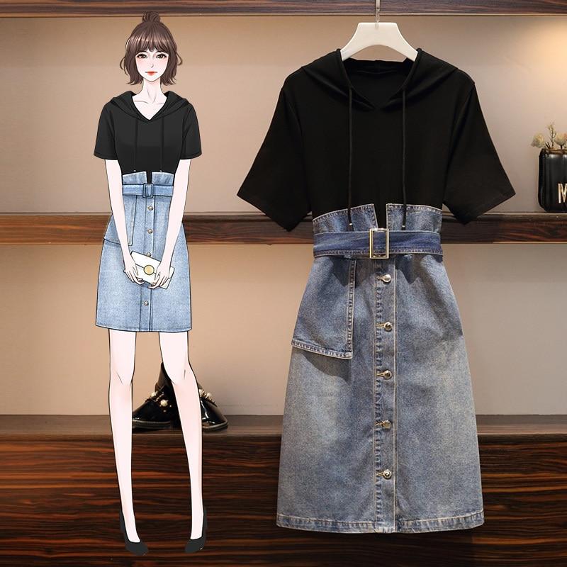 Plus size 5xl 2020 verão denim retalhos faixas vestidos elegante com capuz falso duas peças solto casual manga curta vestidos