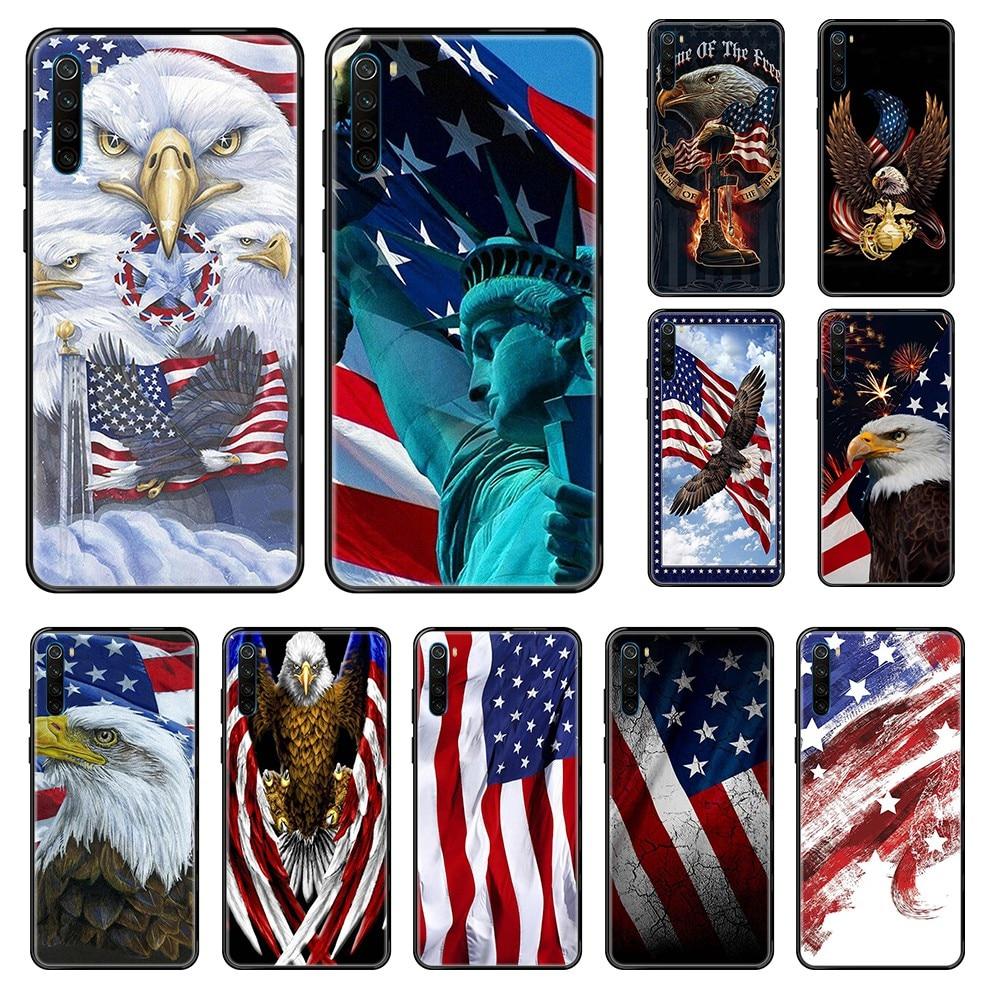 Bandera estadounidense emblema nacional pintura 3D shell Etui negro Funda de teléfono para Xiaomi Redmi Note S2 4 5 6 7 8 A S X Plus Pro