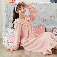autumn and winter lovely coral plush nightdress womens extended flannel nightdress womens nightdress household womens wear