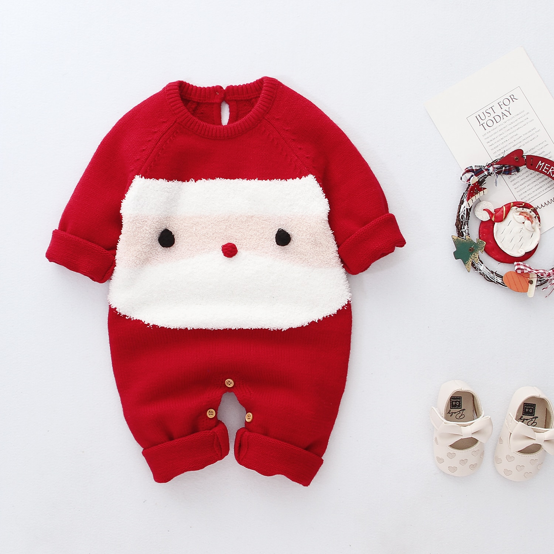 Рождественская Одежда для новорожденных девочек и мальчиков Шерстяной Вязаный комбинезон Теплый Рождественский праздничный наряд