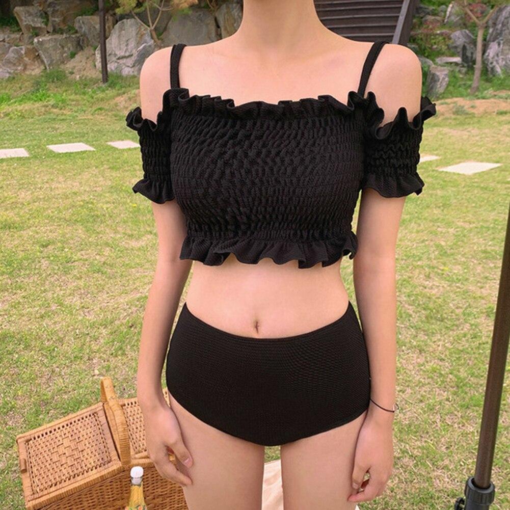 New Korean Style Sexy Hem Bikinis Set Middle Waist Swimsuit Women Biquini Suit Two Pieces Swimwear Black Swimsuit High Quality
