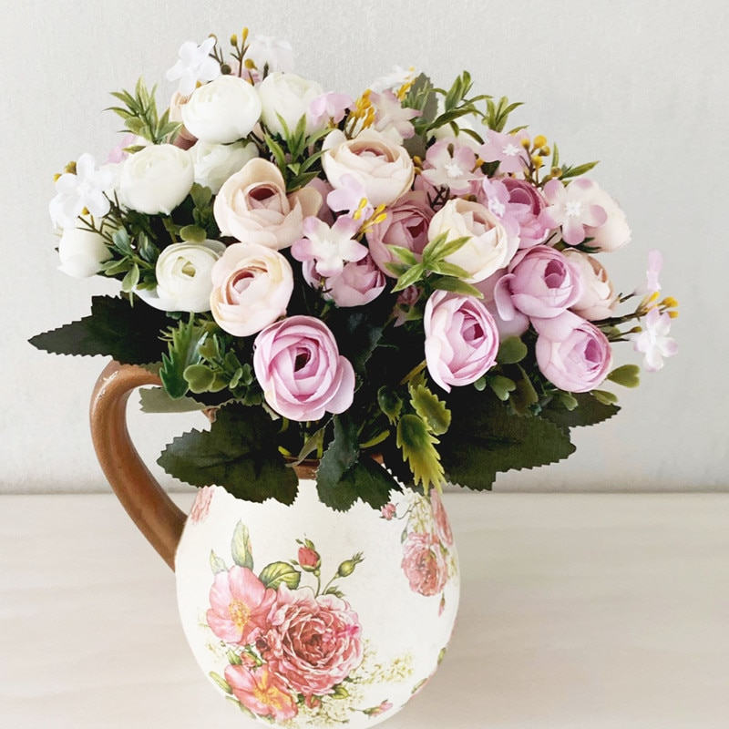 A fábrica vende 13 pequenas alças de primavera brotos de chá, buquês de flores de seda e arranjos de flores DIY diretamente Frete Grátis