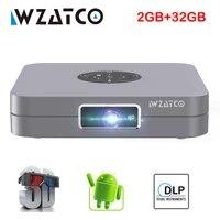 WZATCO D1     MINI projecteur DLP  compatible Full HD  1920x1080P  32 go  Android 7 1  WIFI 5G  AC3  pour Home cinema  3led
