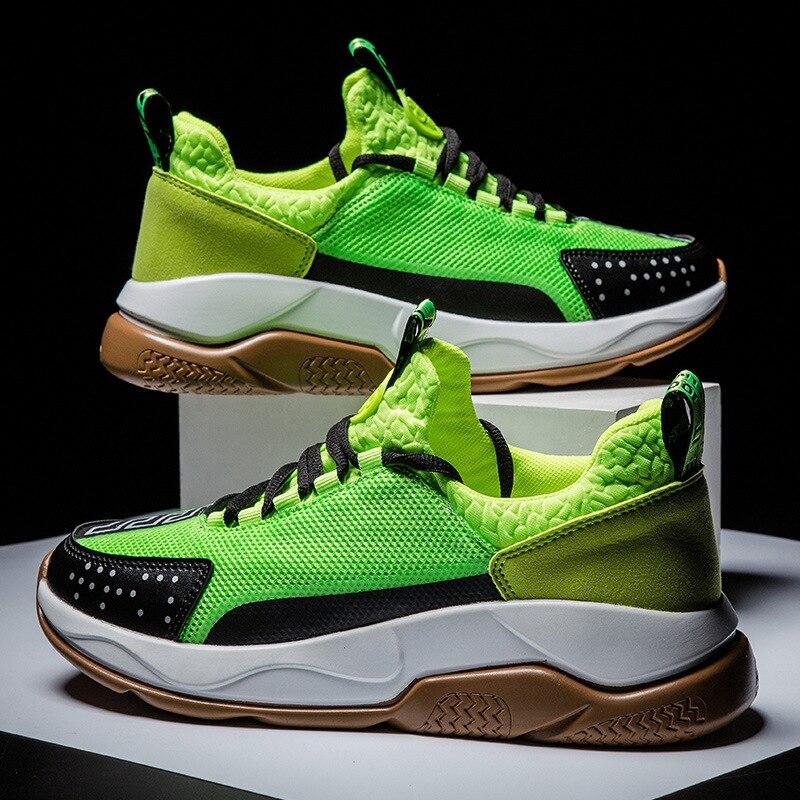 Zapatillas de deporte para Hombre Zapatillas de deporte de malla transpirable ligera verde neón para Hombre Zapatillas deportivas resistentes al desgaste Zapatillas Hombre