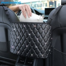 Car Handbag Holder Luxury Leather Seat Back Organizer Mesh Large Capacity Bag Automotive Goods Stora