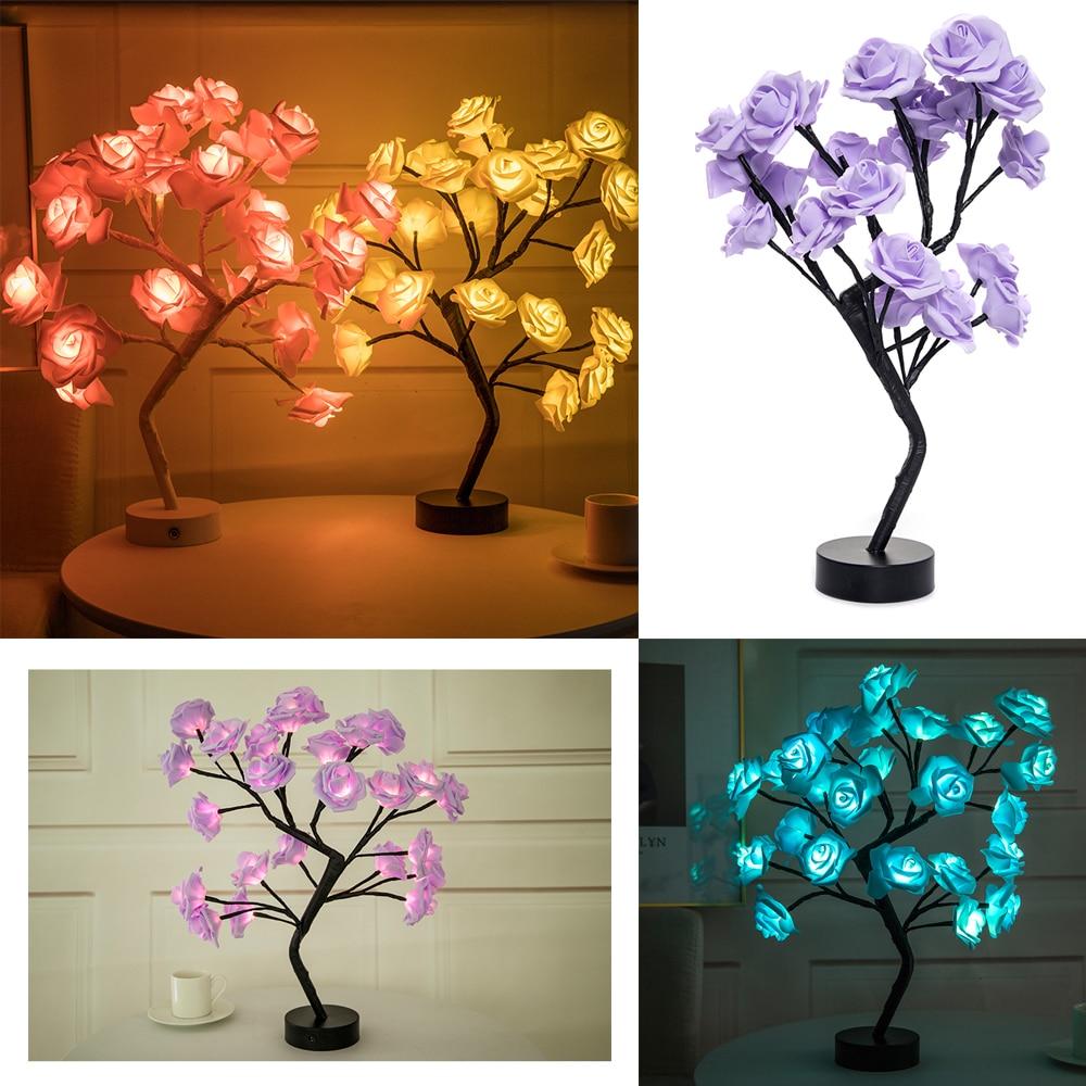 مصباح طاولة LED مع USB على شكل زهرة وردية ، إضاءة زخرفية داخلية ، مثالي لغرفة النوم أو الزفاف أو الكريسماس أو الكريسماس.