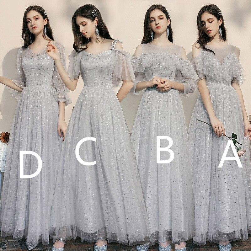 De plata de cielo estrellado cielo vestidos para dama de Honor con lentejuelas país una línea Bohemia boda invitado vestido de 2020 estilo de dama de Honor vestidos