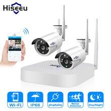 Hiseeu 4CH 1080P Draadloze Cctv Camera Systeem Wifi 2 Pcs 2MP Metalen Waterdichte Ip Camera Outdoor Beveiliging Video Surveillance kit