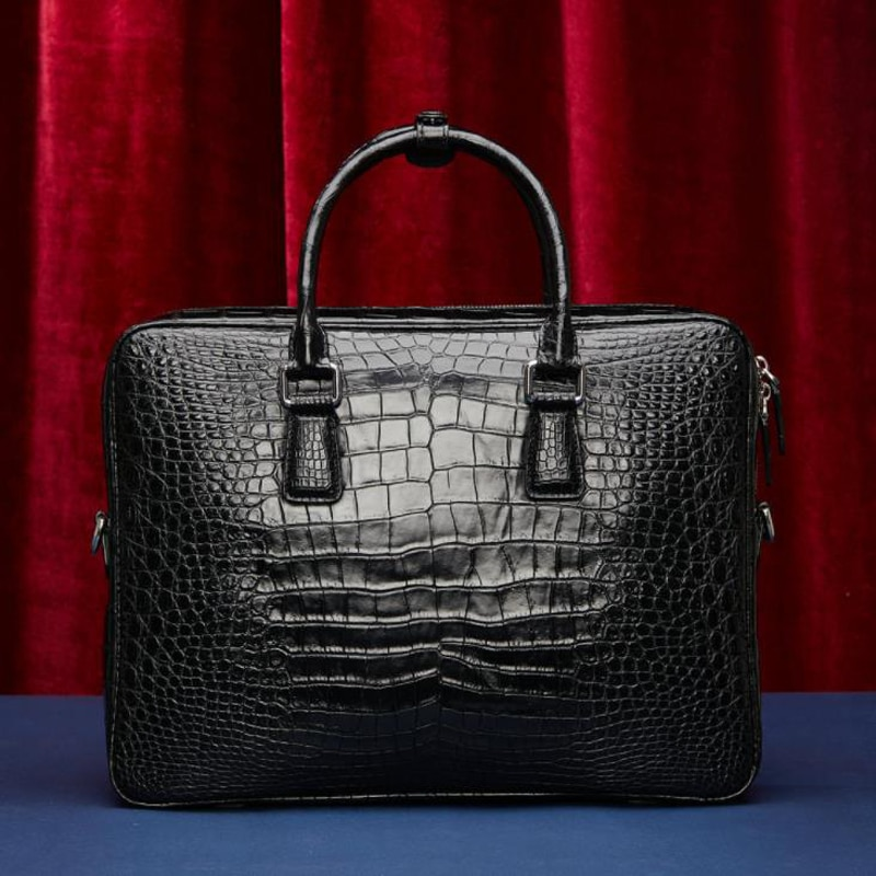 Designer Mens Black 100% Genuine Crocodile Leather Handbag Shoulder Bag Laptop Handbags Retro Messgenger Bag Crossbody Bag