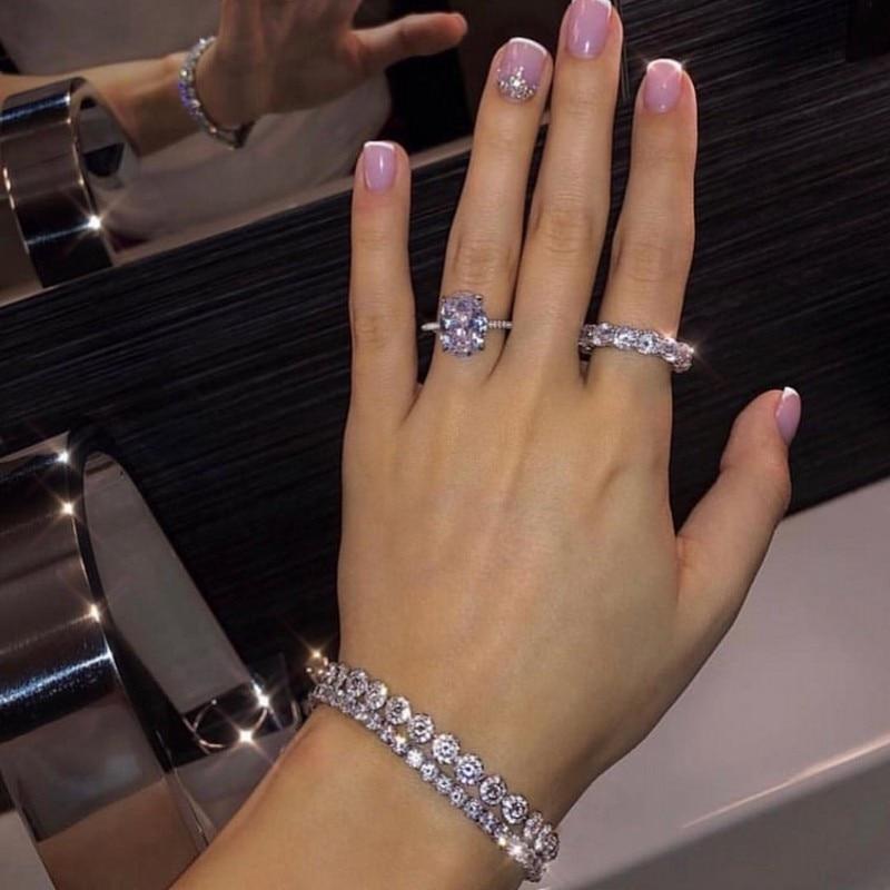 Vecalon anel de luxo bijou 925 prata esterlina aaaa cz promessa noivado casamento banda anéis para festa à noite jóias