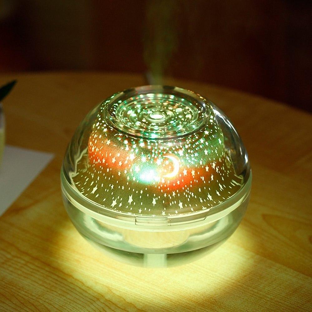 Humidificador de proyección de luz nocturna de cristal de 500 ml, modo de niebla ajustable, apagado automático para el dormitorio de la Oficina de Spa Yoga