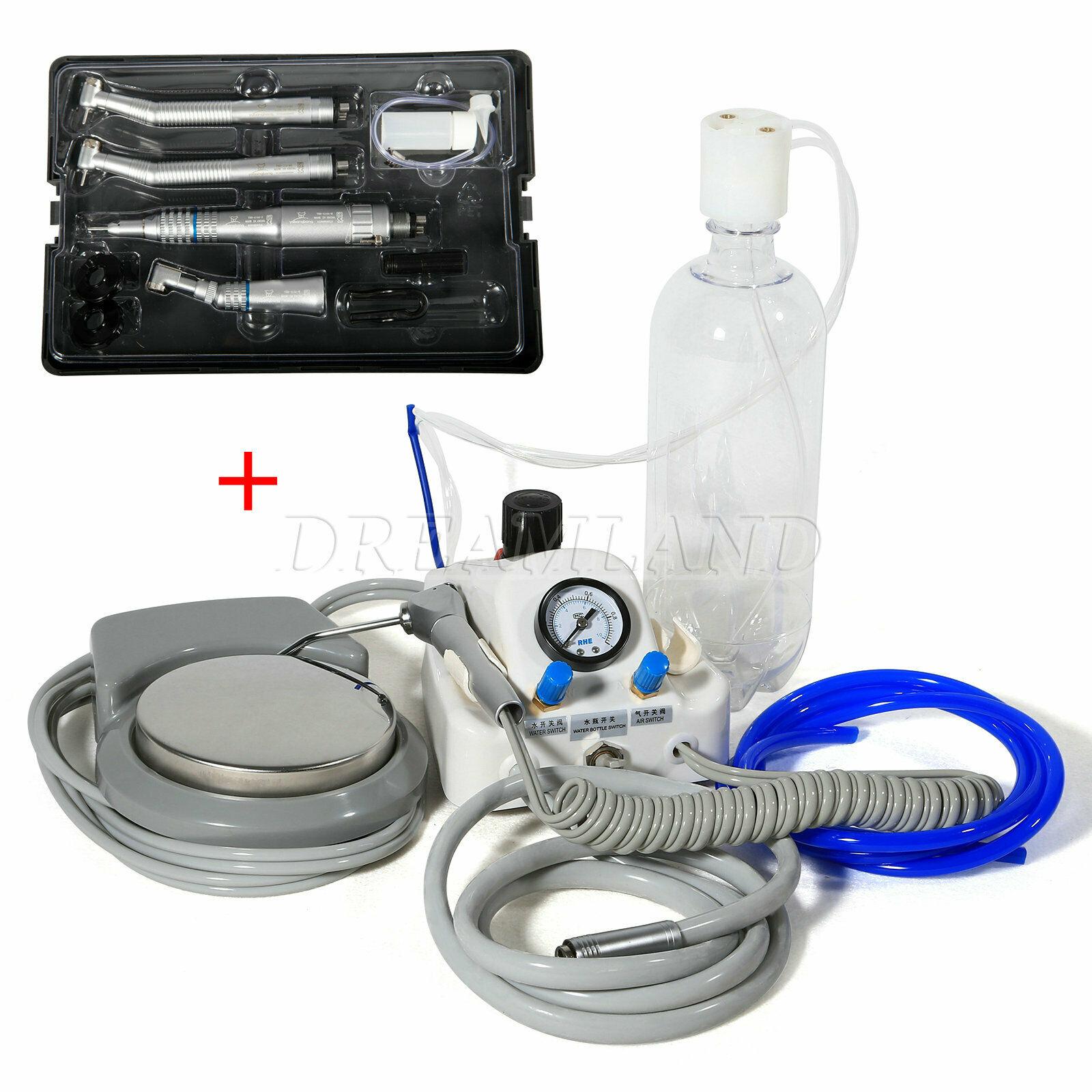 وحدة توربينية هوائية محمولة للأسنان تعمل مع ضاغط 2/4 ثقوب + مجموعة قبضة عالية السرعة المنخفضة