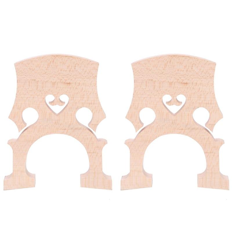 2 Piece 3/4 4/4 Regulated Double Bass Contrabass Bridge Maple Replacement Parts Cello Diy Musical Instrument Accessories(3/4)