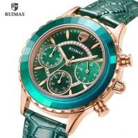ruimas ladies casual watches luxury green leather quartz watch women chronograph watch top brand relogio feminino clock girl 592