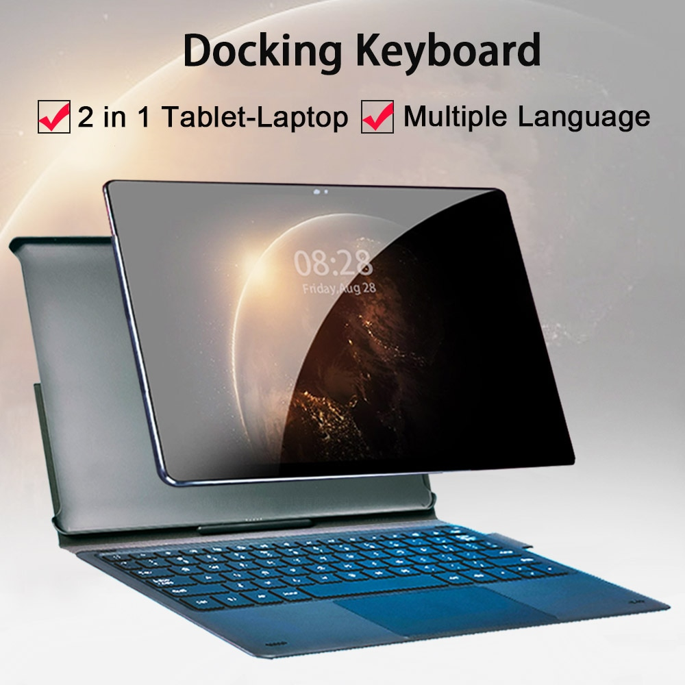 New Design Face ID 4G LTE 2 in 1 Tablet PC 10.5 Inch Tablet Laptop 1920 1200 Android Tablet With Keyboard Dual SIM Card 13MP