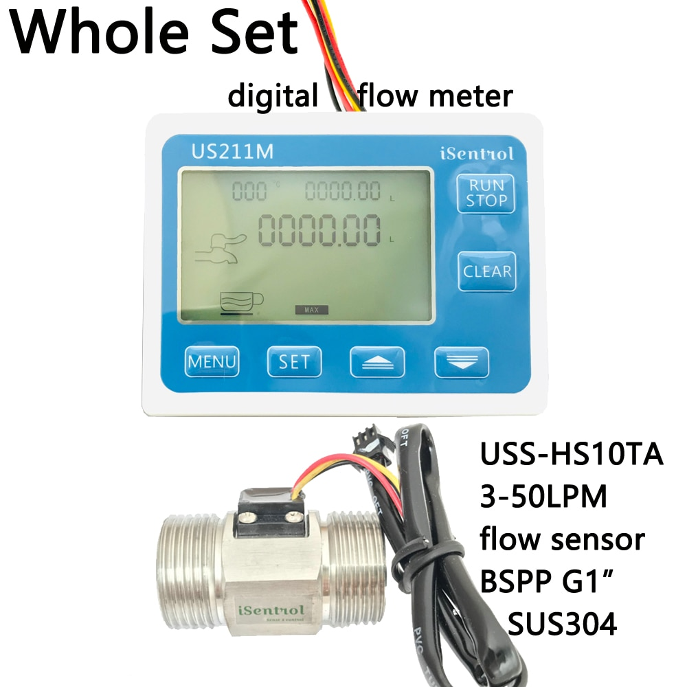"Us211m medidor de fluxo de água digital com sus304 aço inoxidável g1 ""USS-HS10TA 3-50l/min salão leitor de sensor de fluxo de água dijiang isent"