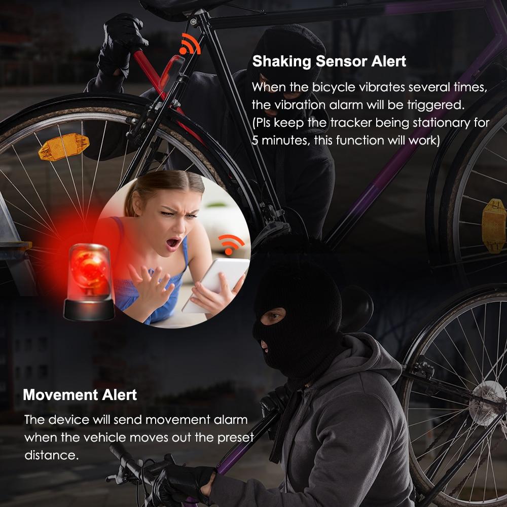GPS Tracker Bike Waterproof Taillight Design Vibrate Drag Alarm Mini GPS Tracker for Bike Bicycle Geo-fence SOS Free APP enlarge