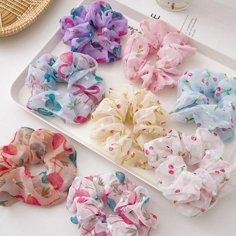 New Designers Women Kawaii Hair Scrunchies Set 8pcs/lot Wholesale Flamingo Schrunchies Pack Girls Mesh Cherry Hair Bands
