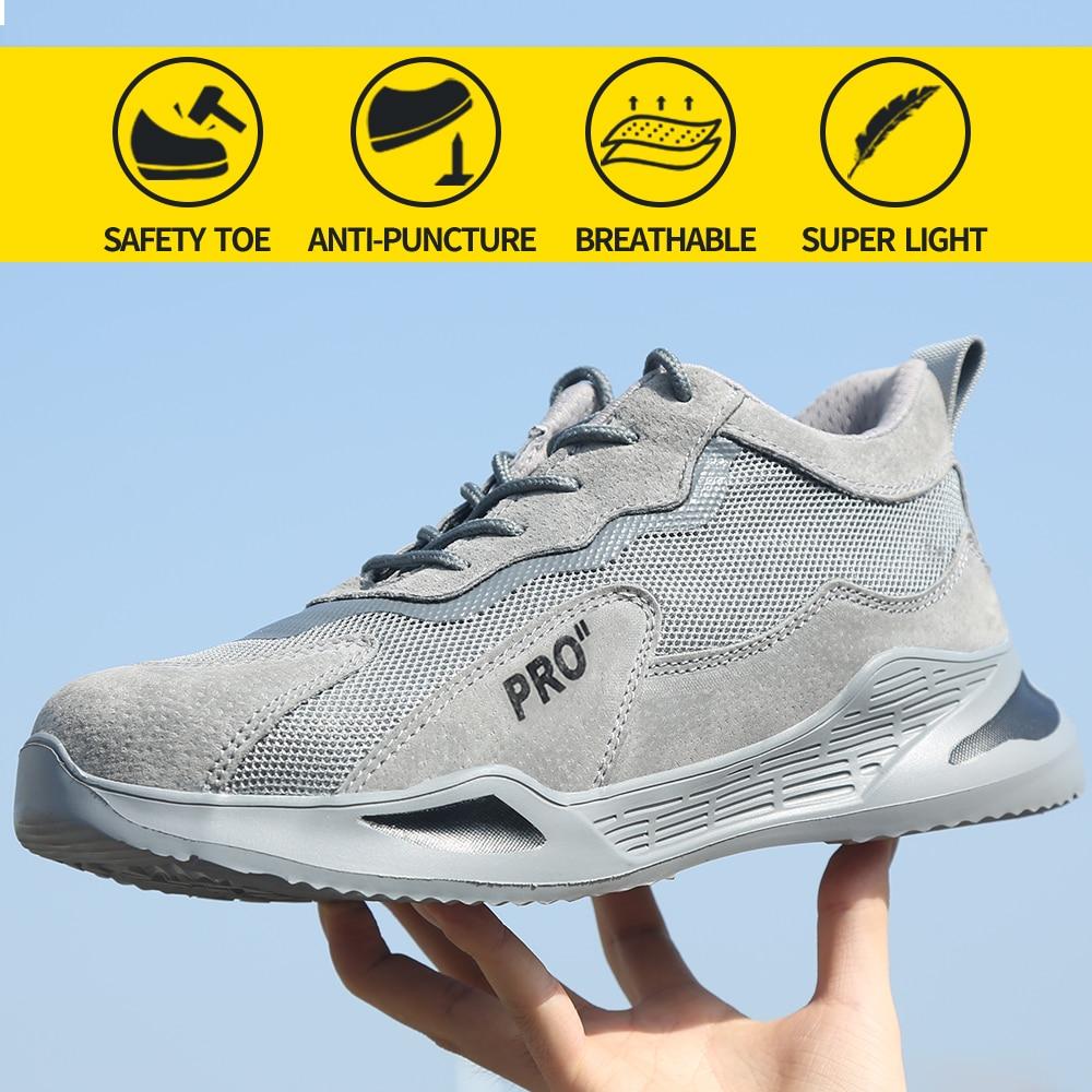 أحذية السلامة للرجال مع مقدمة فولاذية ، أحذية عمل ناعمة وخفيفة الوزن ومسامية ومضادة للثقب