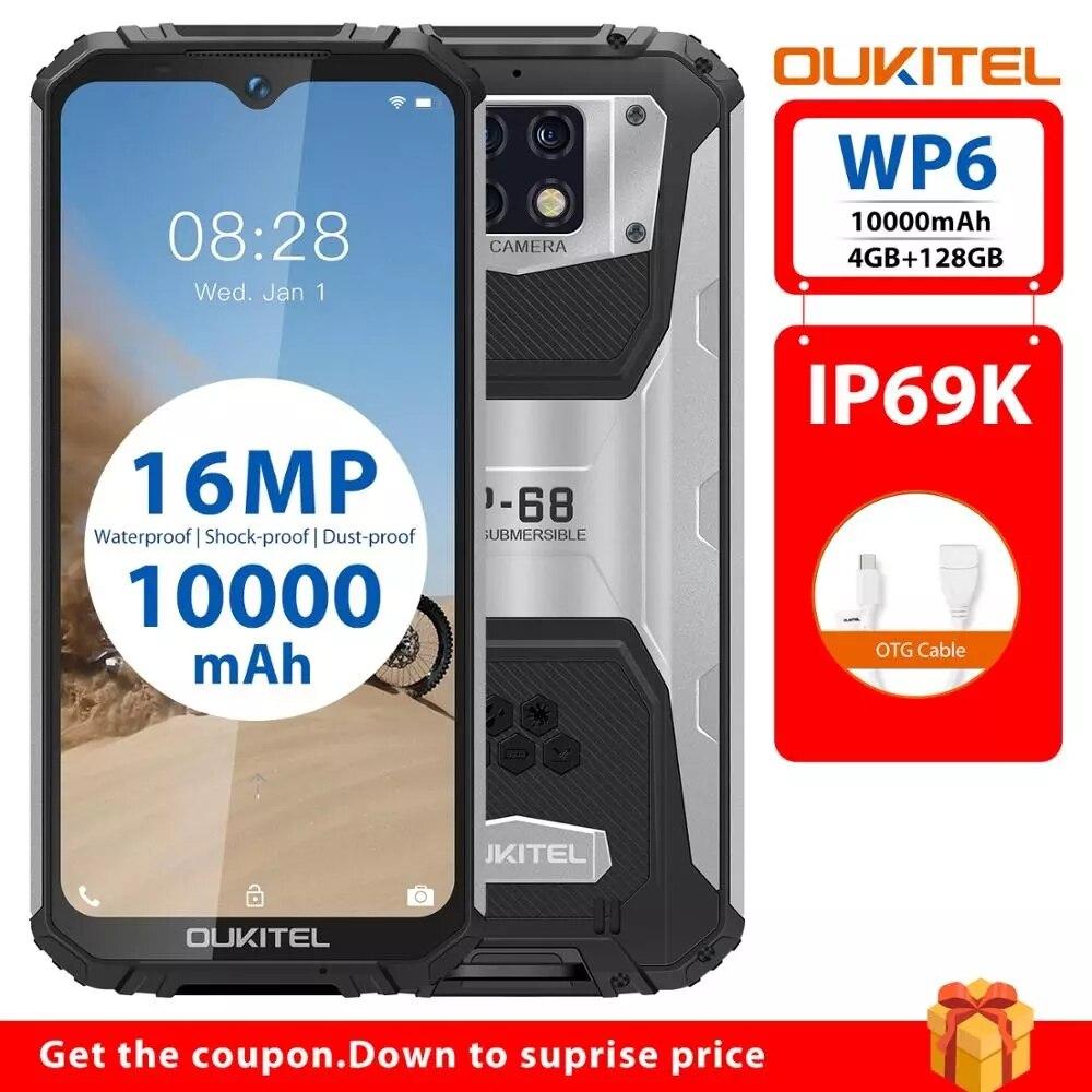 Перейти на Алиэкспресс и купить OUKITEL WP6 10000 мАч 6,3 дюймFHD + безрамочный экран с IP68 Водонепроницаемый мобильный телефон 4 Гб 128 MT6771 Восьмиядерный мобильный телефон 16MP 4 аппарат не пр...