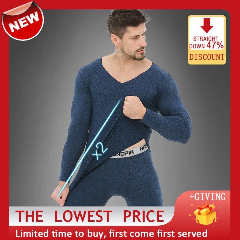 Комплект мужского удлиненного нижнего белья, модное термобелье, эластичный топ с длинными рукавами и брюки, домашнее белье для мужчин, весн...