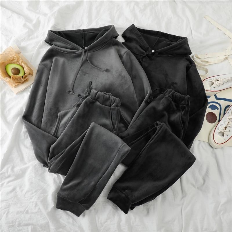 Mooirue Otoño Invierno Pleuche Thickening Pants Set mujer Sudadera con capucha + pantalón largo elástico conjunto a juego