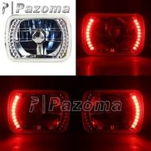 Vierkante 7X6 Inch H4 Sealed Beam Halogeen Diamant Koplampen W/Rode Led Ring Projector Hi/Lo beam Hid Lamp Voor H6014 H6052 H6054