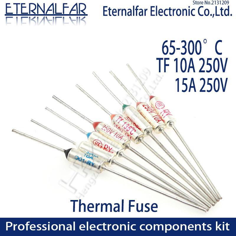 TF fusible térmico RY 10A 15A 250V fusible de temperatura 65C 85C 100C 105C 100C 120C 130C 152C 165C 185C 192C 200C 216C 240C 280C 300C