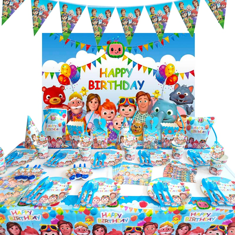Cocomelon Kids Birthday Party Supplies Paper Plates Cups Nakpin Straw Balloons Party Decoration Boys Baby Shower 40pcs unicorn paper plates large 23cm plates baby shower bbq summer party decor birthday party paper plates wedding decoration