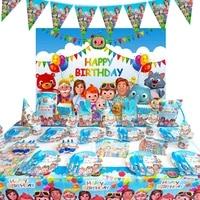 cocomelon kids birthday party supplies paper plates cups nakpin straw balloons party decoration boys baby shower