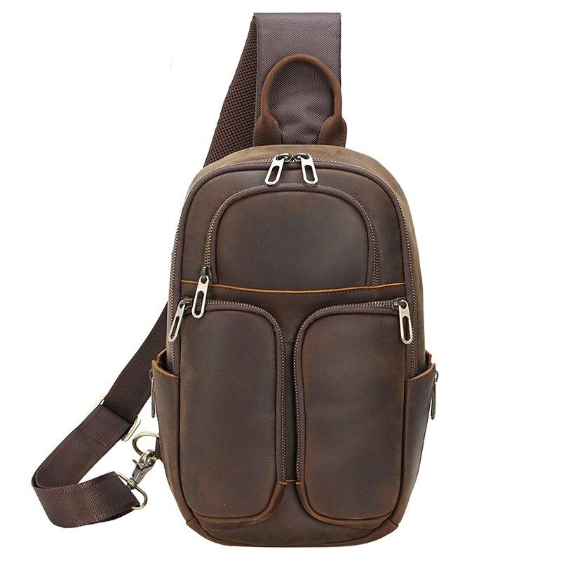 الصدر حزمة حقائب للرجل جلد طبيعي عادية موضة خمر نمط إنجلترا السفر الأعمال الصدر حقيبة كتف الذكور