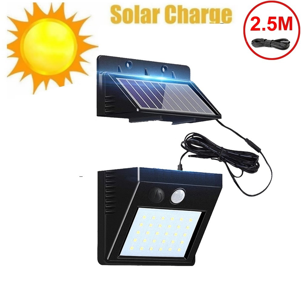 Lámpara Solar de pared con Sensor de movimiento PIR, 30 LED, resistente...